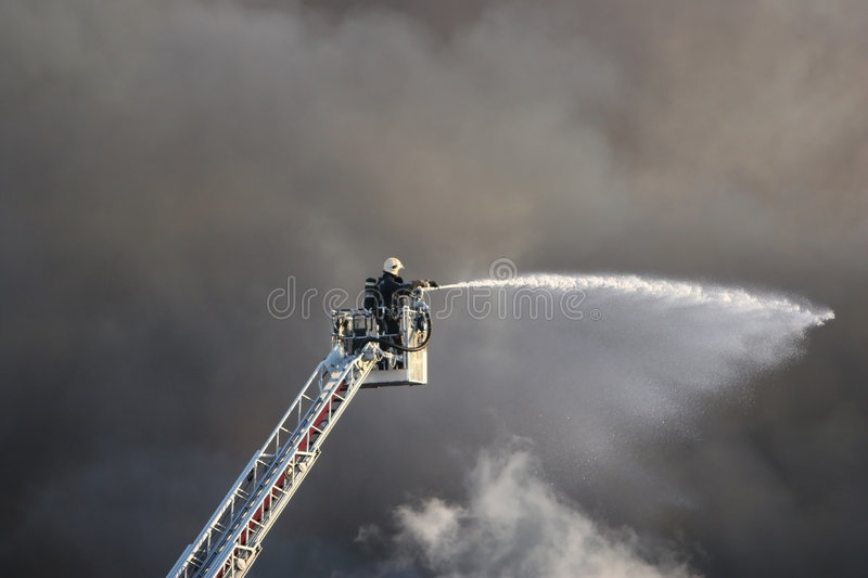 Download Fireman in action stock photo. Image of rescue, water - 2585690