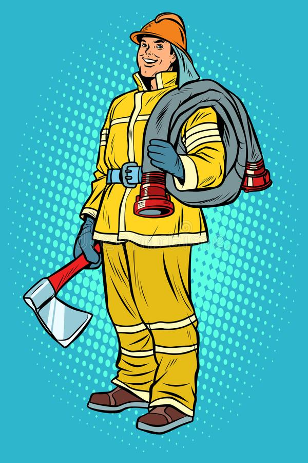 Fireman with axe and hydrant vector illustration