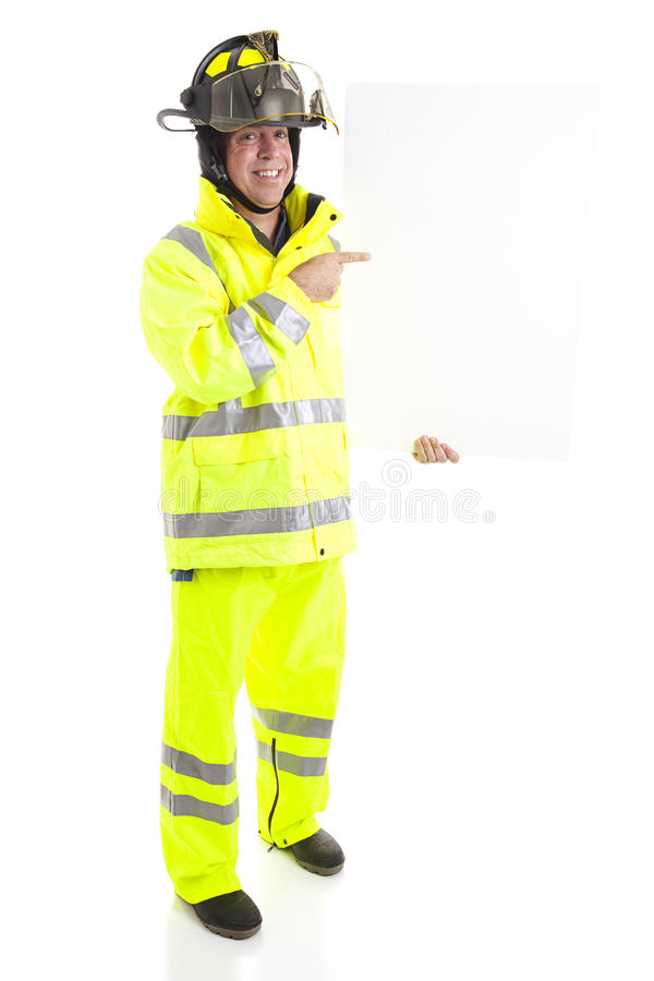 Fireman with Blank Sign - Full body royalty free stock photo