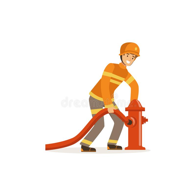 Fireman character in uniform and protective helmet connecting water hose to fire hydrant, firefighter at work vector. Illustration isolated on a white stock illustration