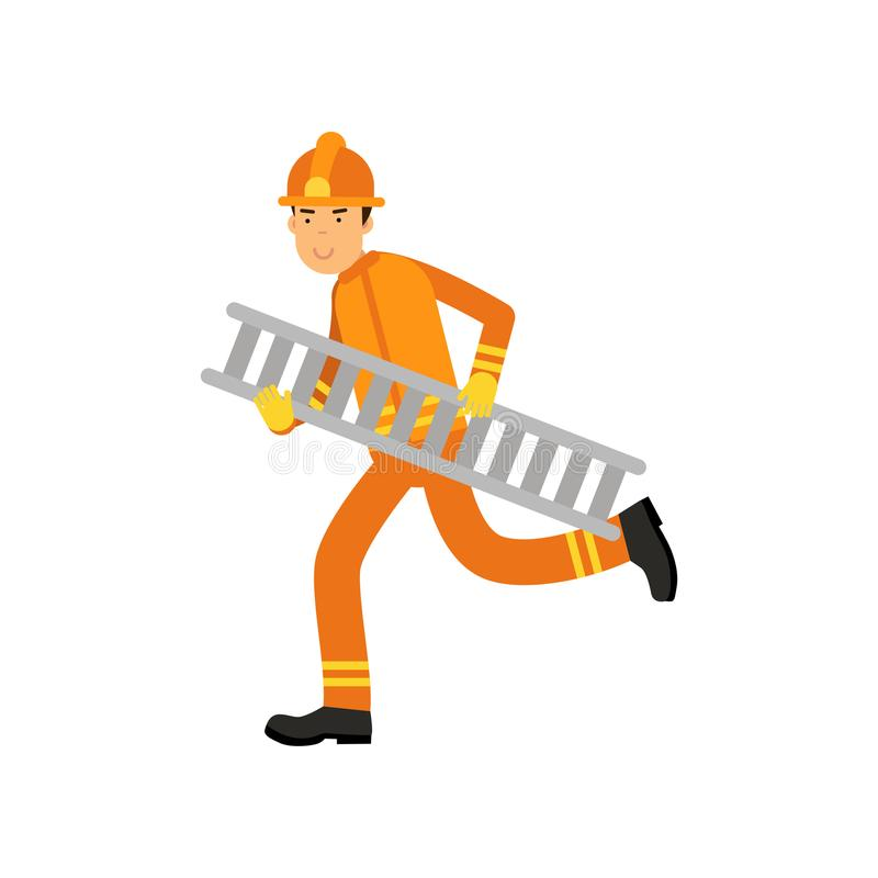 Fireman character in uniform and protective helmet, running with ladder. Fireman in uniform and protective helmet, running with ladder. Firefighter officer in vector illustration