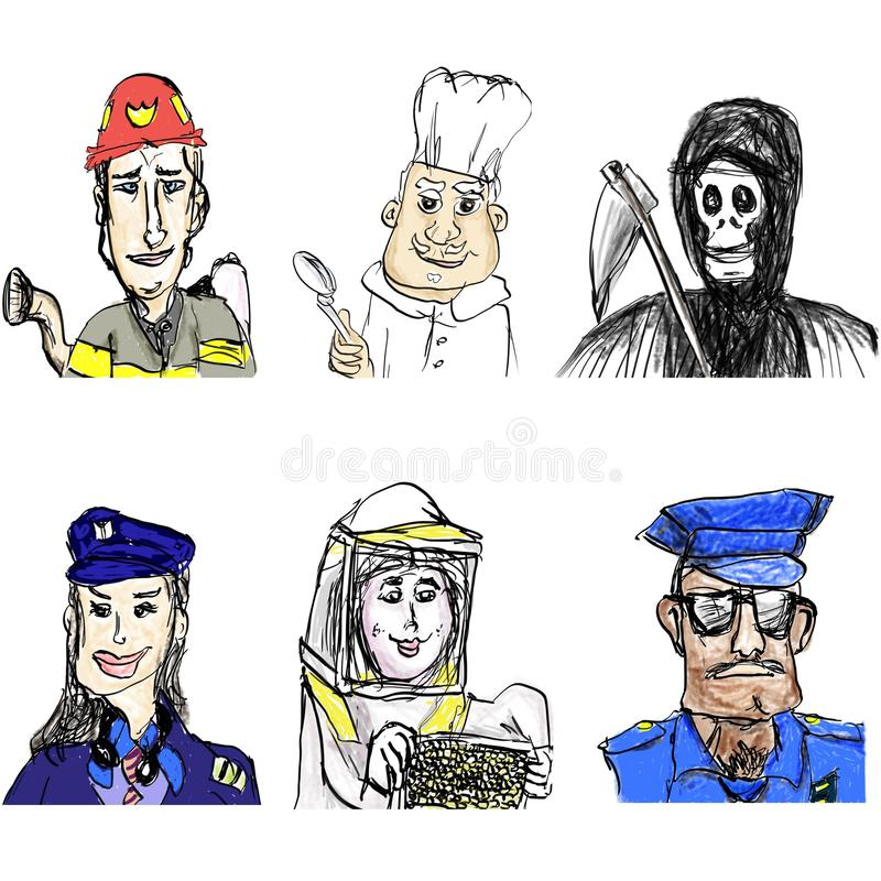 Fireman, Chef, Pilot Woman, Beekeeper, Policeman, Angel of Death vector illustration