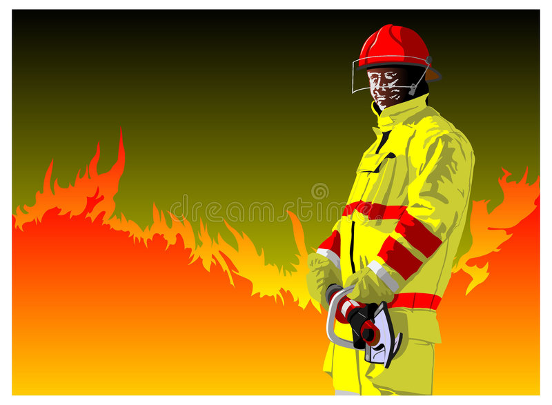 Download Fireman cutting stock vector. Image of danger, adult, suit - 7548749