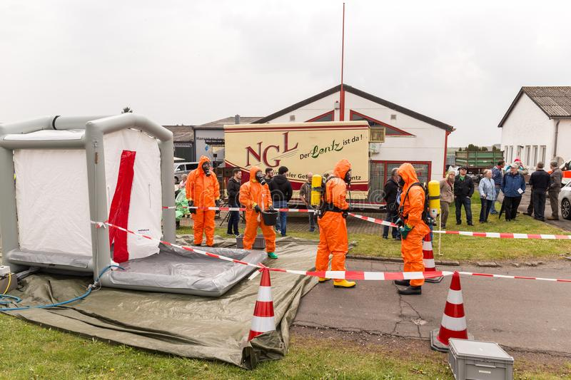 BLEIALF, GERMANY, MAY 7, 2017 - Fireman demonstrate how to handle hazardous material - public demonstration. Fireman demonstrate how to handle hazardous material stock photos