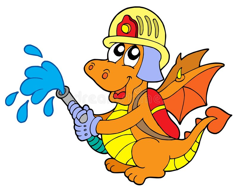 Fireman dragon. On white background - vector illustration stock illustration