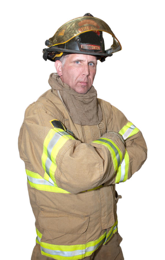Fireman Emergency Rescue First Responder Isolated stock photo