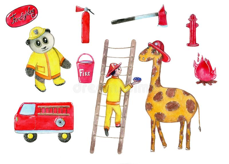 Fireman equipment retro style collection with red pump,fire extinguisher,stairs, funny panda,boy, pail,fire car, ax, giraffe. stock illustration