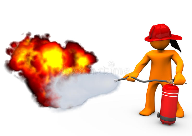 Fireman Extinguisher Fire. Orange cartoon character blows out the fire with extinguisher royalty free illustration