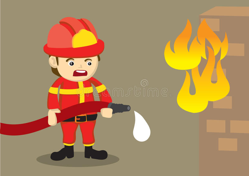 Fireman Fighting Fire with Dripping Hose. Cute vector cartoon illustration of a distressed firefighter in red uniform holding a dripping water hose in front of a royalty free illustration