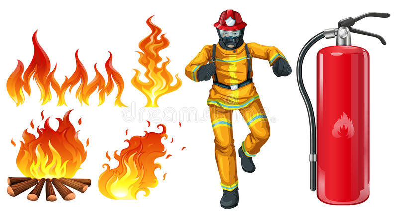 A fireman. With a fire extinguisher on a white background royalty free illustration