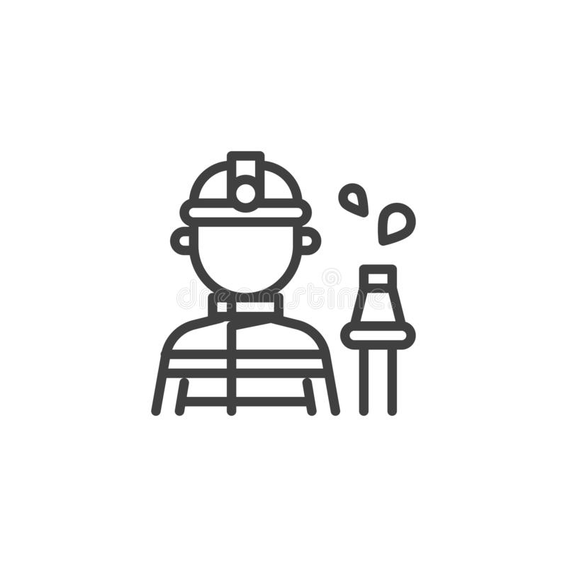 Fireman with a fire hose line icon stock illustration
