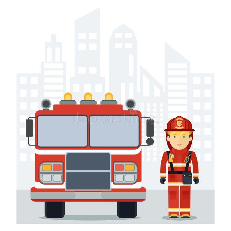 Fireman fire track on city vector illustration