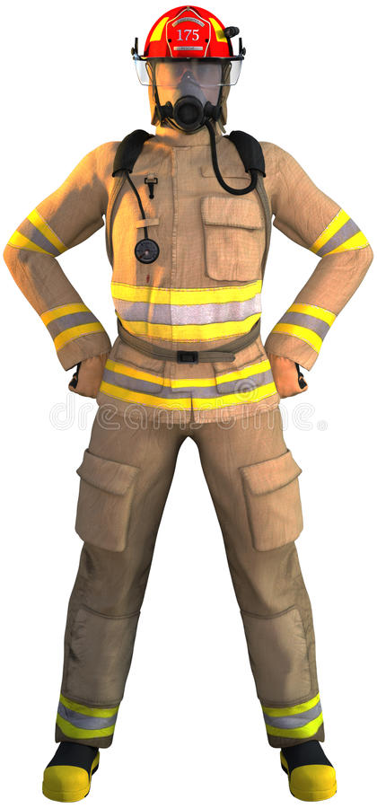 Fireman, Firefighter, First Responder, Isolated. Illustration of a fireman, hero, or first responder. The firefighter Isolated on white. The man has a well known vector illustration