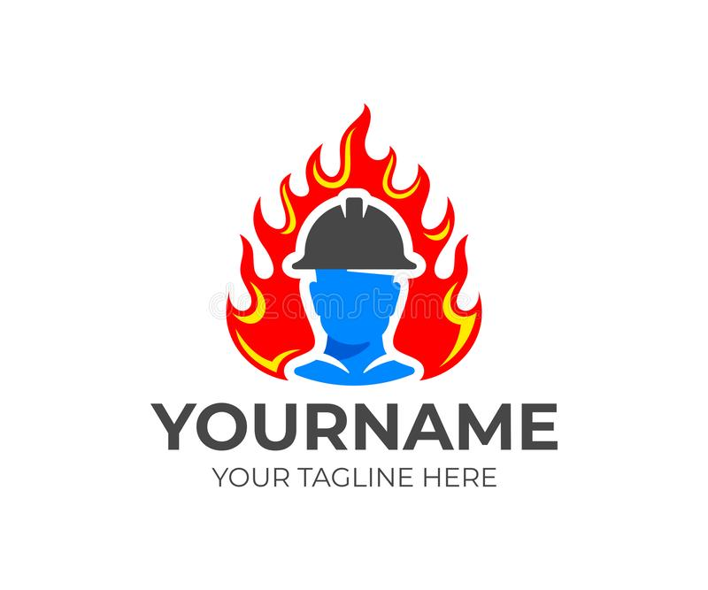 Fireman or firefighter in helmet comes out of flame or fire, logo design. Fire fighting and fire department, vector design vector illustration