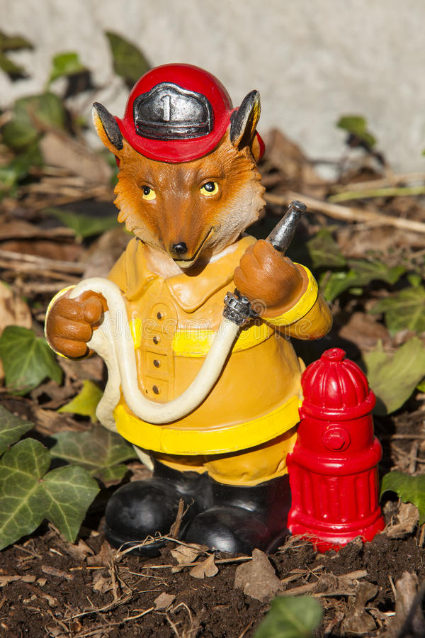 Download Fireman Fox Stock Photo   Image: 67279267. Decoration Fireman Fox  Garden Statue ...