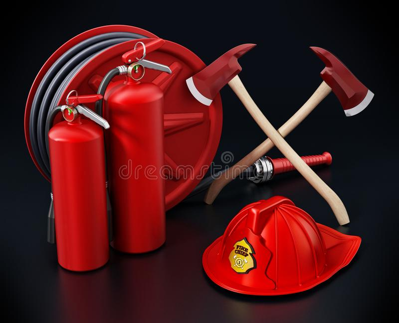 Fireman hat, hose, extinguishers and axes. 3D illustration vector illustration