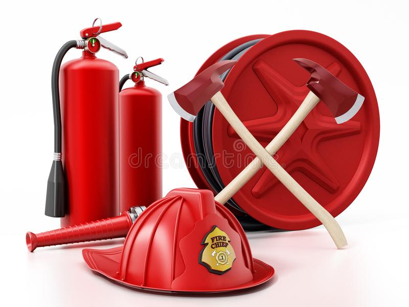 Fireman hat, hose, extinguishers and axes. 3D illustration royalty free illustration