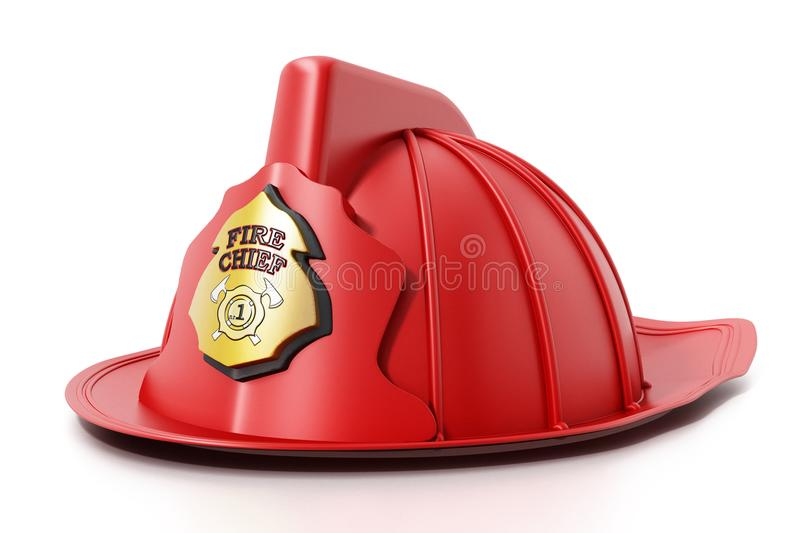 Fireman hat isolated on white background. 3D illustration royalty free illustration