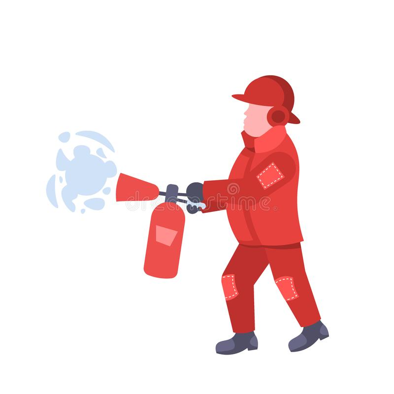 Fireman holding extinguisher wearing red uniform and helmet man fire fighter professional worker occupation male cartoon. Character full length flat isolated royalty free illustration