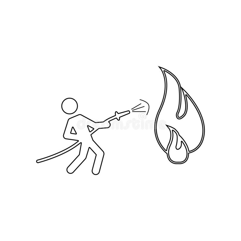 Fireman holding hose extinguishing fire with water icon. Element of Fireman for mobile concept and web apps icon. Outline, thin. Line icon for website design vector illustration