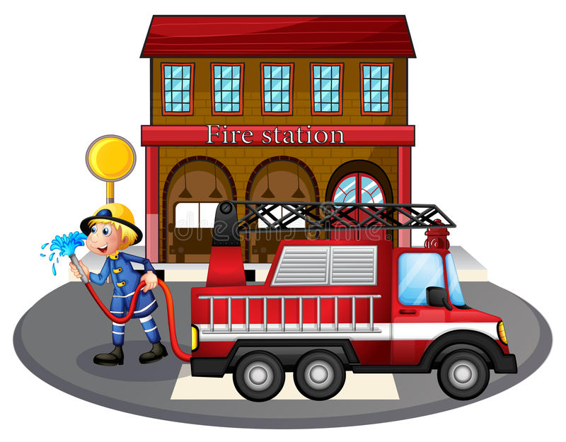 a fireman holding a water hose beside a fire truck stock vector rh dreamstime com fire station clip art free fire department clip art