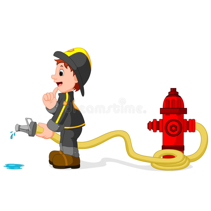 Fireman holding a yellow water hose royalty free illustration