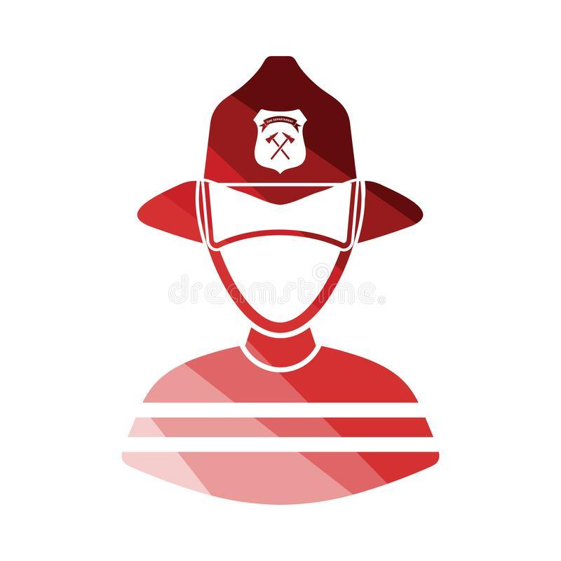 Fireman icon. Flat color design. Vector illustration royalty free illustration