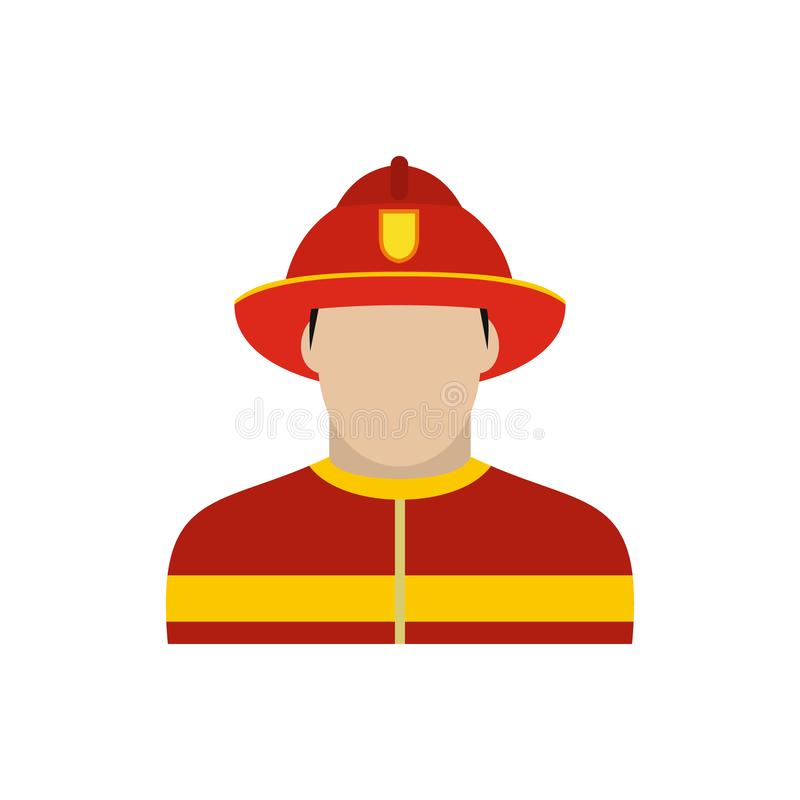 Fireman icon flat. Fireman icon in flat style isolated on white background royalty free illustration