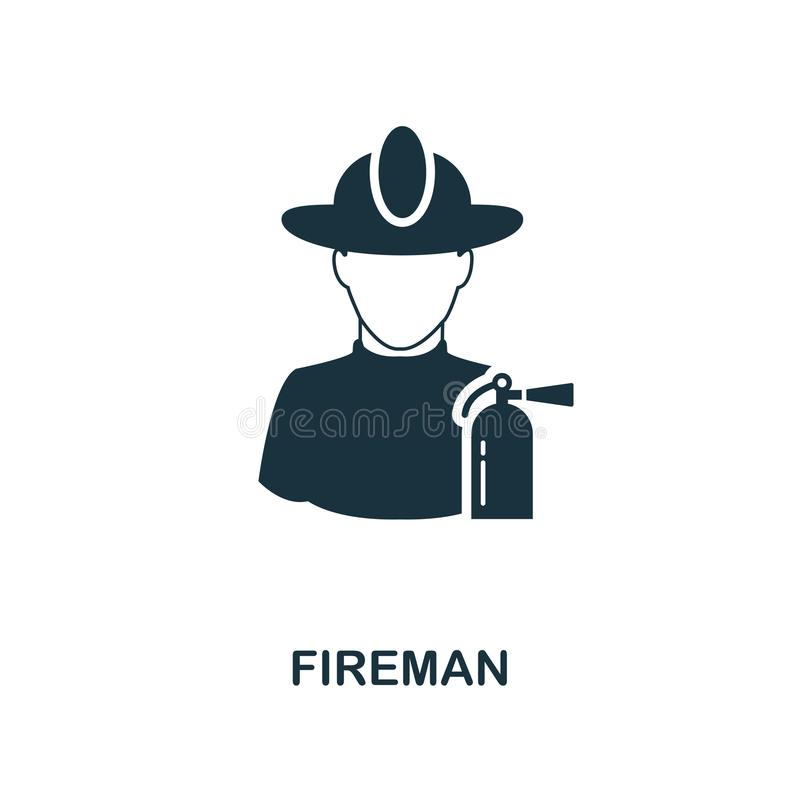 Fireman icon. Monochrome style design from professions icon collection. UI. Pixel perfect simple pictogram fireman icon. Web desig vector illustration