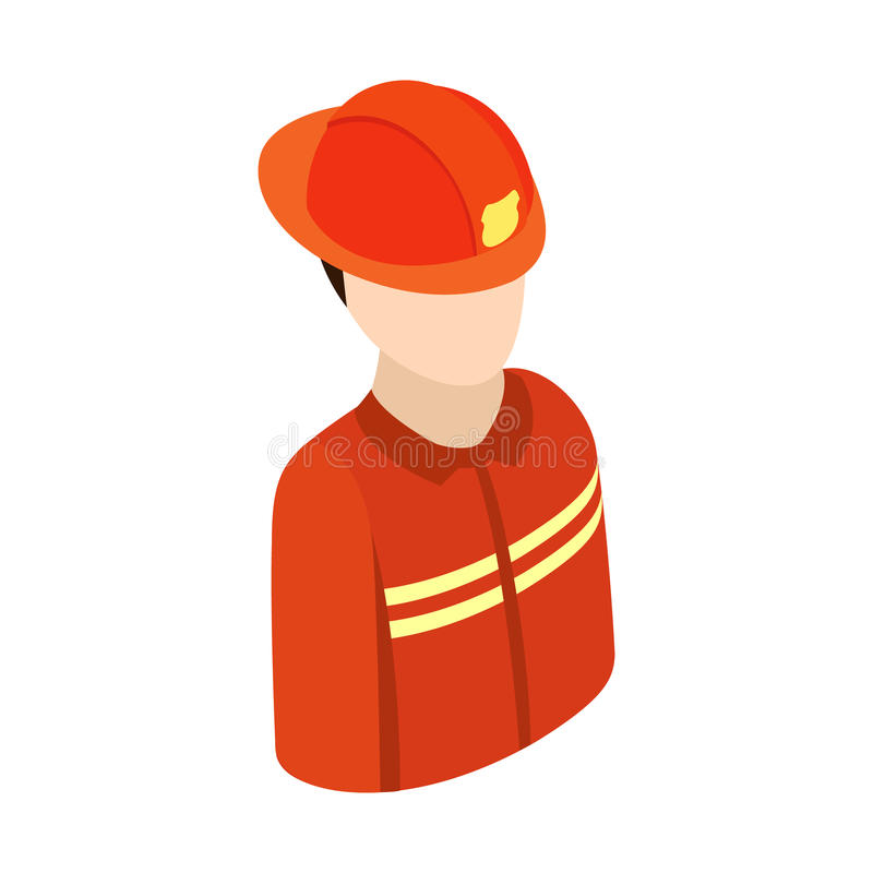 Fireman isometric 3d character icon stock illustration