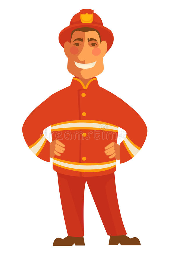 Fireman in protective suit isolated on white. Smiling firefighter. In red suit vector illustration in cartoon style. Profession character hat with token in flat royalty free illustration
