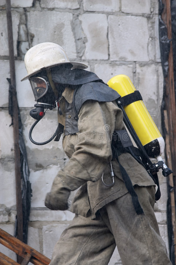 Fireman in respirator stock photos
