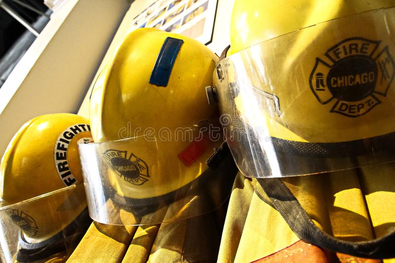 The fireman`s clothes by the Engine 17 of the Chicago Fire Department. Osaka, Japan - Apr 13, 2019: The fireman`s clothes by the Engine 17 of the Chicago Fire royalty free stock images