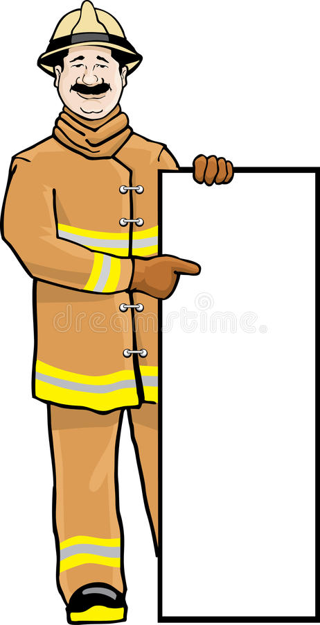 Download Fireman with sign stock vector. Image of text, illustration - 16184207