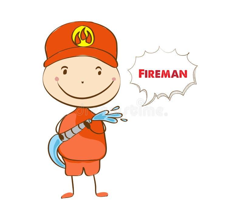 fireman Um bombeiro que pulveriza uma mangueira da água ilustração royalty free