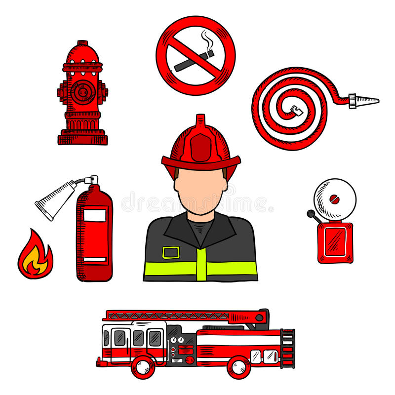 Fireman in uniform with firefighting equipments. Colored sketch of fireman in protective uniform and red helmet with fire truck, water hose, hydrant, no smoking royalty free illustration