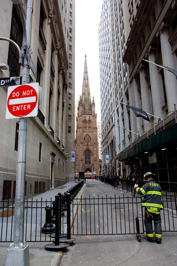 Fireman on Wall Street stock photography