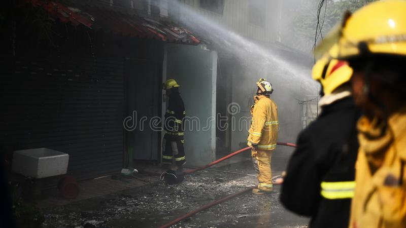 Fireman working real Incident in Thailand stock photo