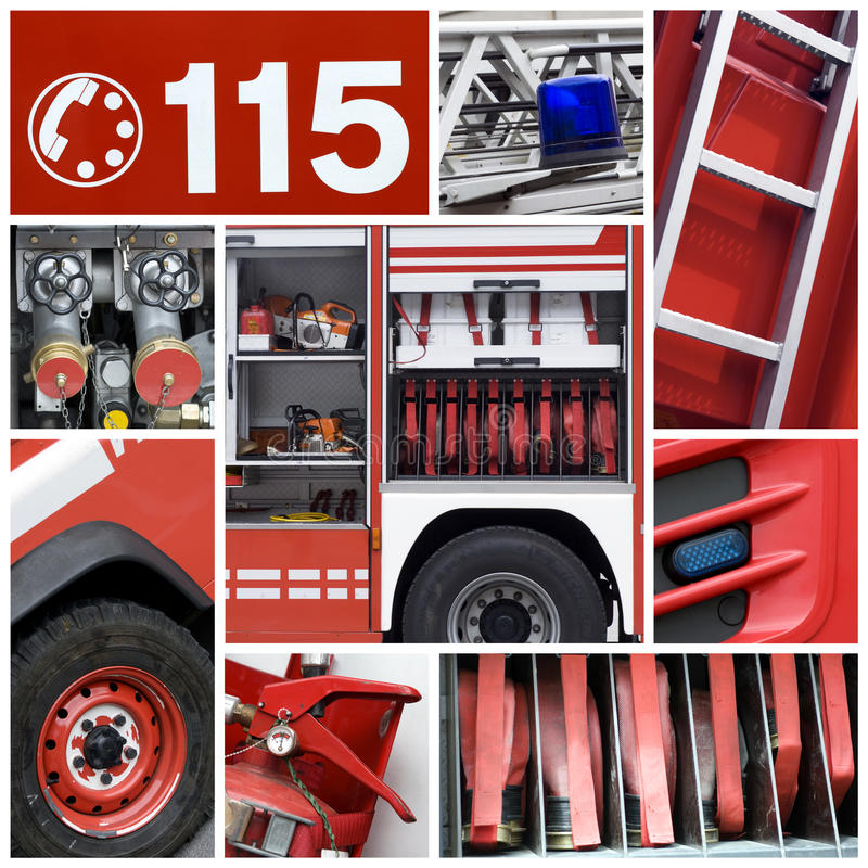 Firemen collage royalty free stock image