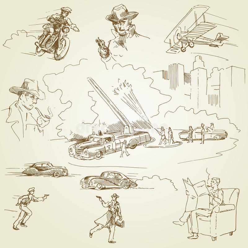 Firemen - doodles. Firemen doodles - hand drawn collection royalty free illustration