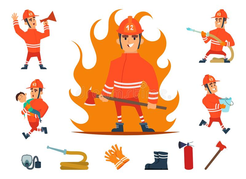 Firemen and equipments. Fireman profession working. Cartoon tools, children and fire, hose and hydrant isolated vector stock illustration