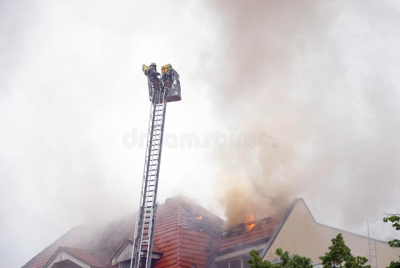 Download Firemen ladder stock photo. Image of firefighters, workwear - 14654600