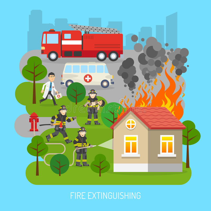 Firemen At Work Concept Flat Poster. Firefighters rescuing child in fire extinction action scene with fire truck and ambulance flat abstract poster vector stock illustration