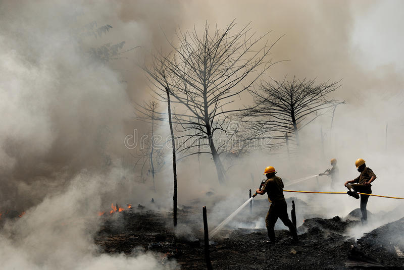 Firemen at Work. In heavy smoke stock images