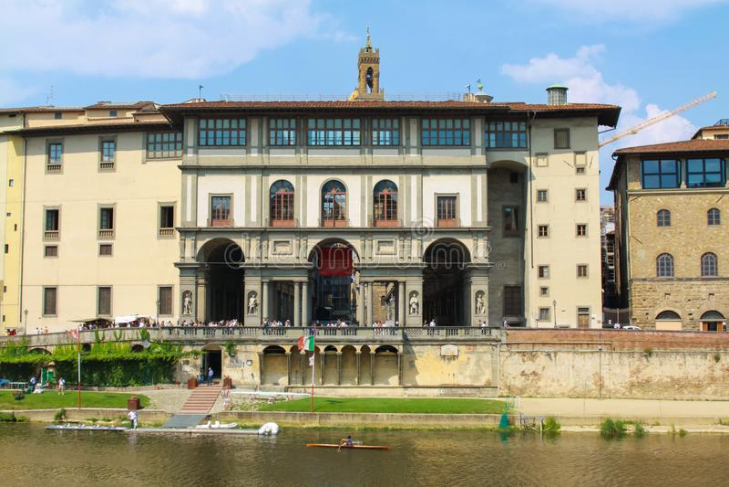 Firenze, degli Uffizi e Galileo Galilei Museum Facad di galleria fotografie stock libere da diritti