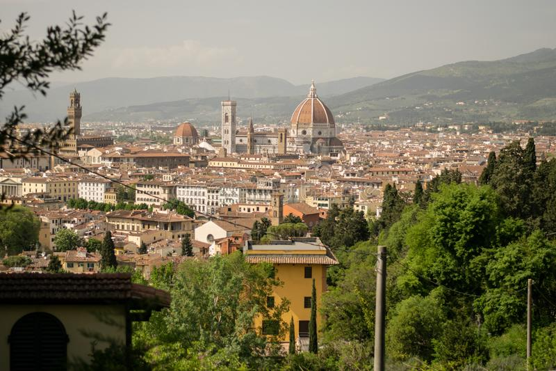 Firenze, Italia - 24 aprile 2018: vista sui Di Santa Maria del Fiore di Cattedrale fotografie stock libere da diritti