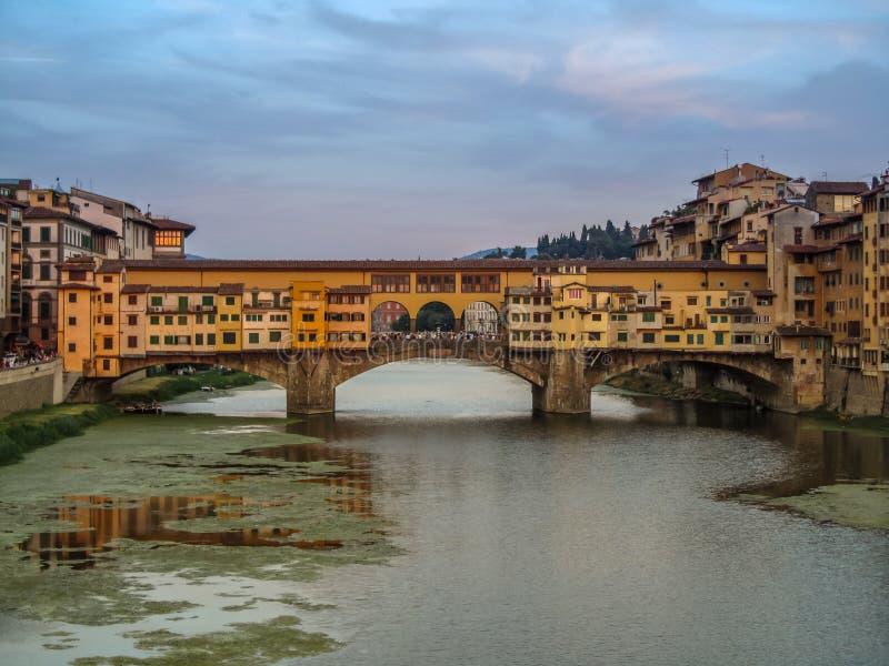 Firenze Italia Florence Italy beautiful sunset Ponte Vecchio famous bridge landmark stock images