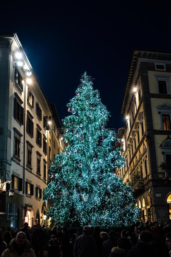 Firenze, Tuscany Italy - December 30, 2018 Florence Christmas Tree Lights at night royalty free stock photography