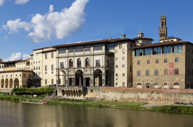 Firenze Uffizi. Uffizi Gallery and river Italy Firenze stock photography