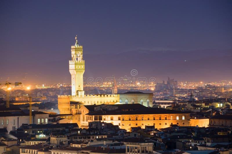 Firenze, vista di notte di Palazzo Vecchio, piazza de fotografie stock libere da diritti